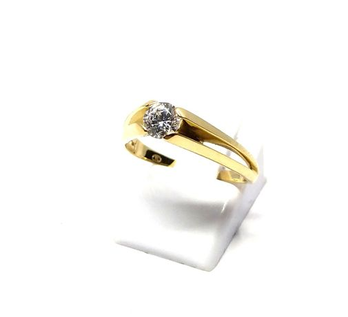(M) Nowy złoty pierścionek z oczkiem 585 3,32 g r 16 Pudełko gratis
