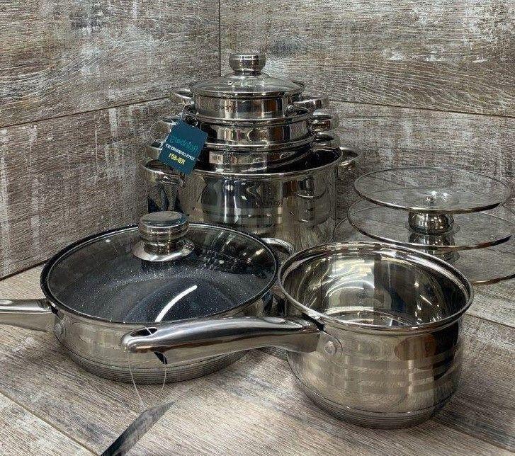 Набор кастрюль посуды rainberg rb-601 (12 предметов) Харьков - изображение 1