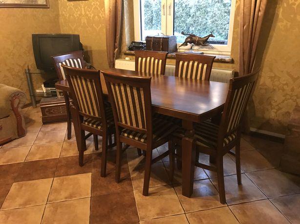 Elegancki drewniany stół jak nowy + krzesła, buk