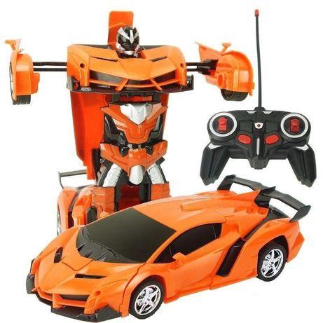 Машинка Трансформер Lamborghini Robot Car Size 18 ОРАНЖЕВАЯ С ПУЛЬТОМ