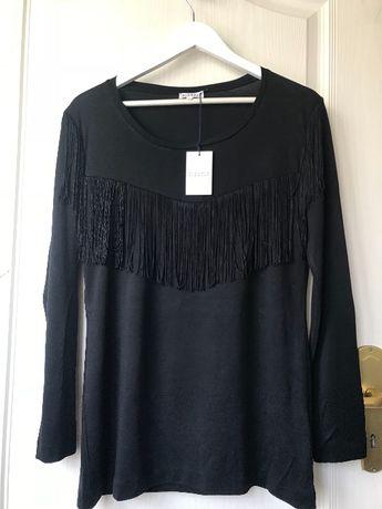 Claudie Pierlot bluzka czarna frędzle M