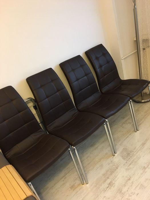 Komplet 4 krzesła ekoskóra czekoladowe Zielona Góra - image 1