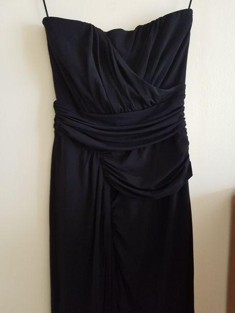 Czarna długa suknia wieczorowa bez ramion MANGO rozmiar S