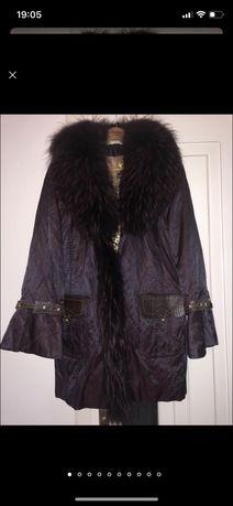 Куртка с мехом енота. подстежка натуральная из кролика