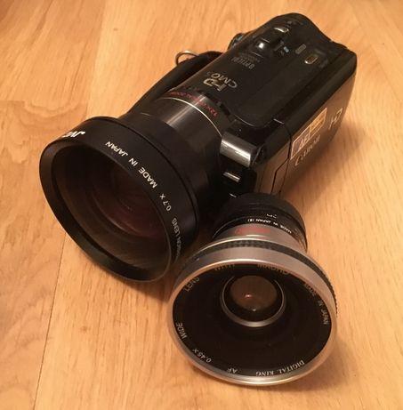 Canon HF10 + konwertery szerokokątne + 3 baterie (kamera cyfrowa HD)