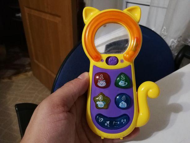 Детский телефон котик музыкальный развивающий с трещеткой + подарок