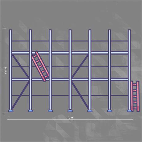 Rusztowanie elewacyjne plettac modułowe 100 m2 podest 2,5 m drewno