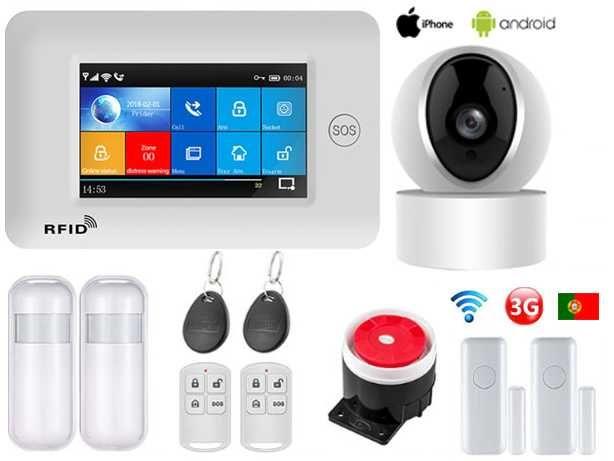 Alarme Casa sem fios GSM/WiFi/Câmera Android/iOS Português (NOVO)