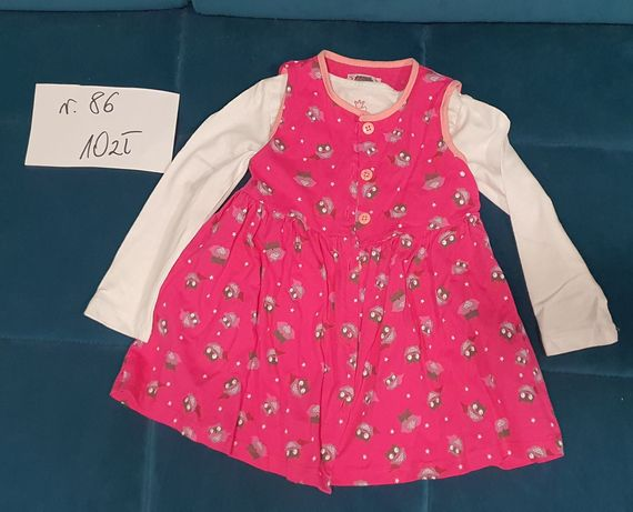 Różowa sukienka w sowy rozmiar 86