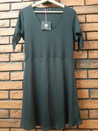 Nowa czarna sukienka prążkowana prążek v by very r. Xl xxl 44
