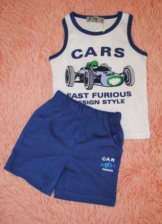 Nowy letni komplet bluzka spodenki niebieska wyścigówka 104