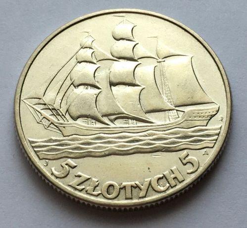 Moneta 5 złotych Żaglowiec 1936