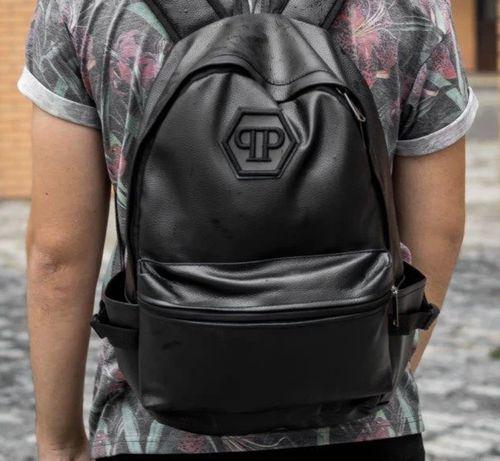 Рюкзак кожаный черный мужской из Экокожи -Городской портфель !