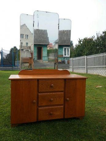 Toaletka z lustrem, szafka, szklana witryna, komoda, antyk.