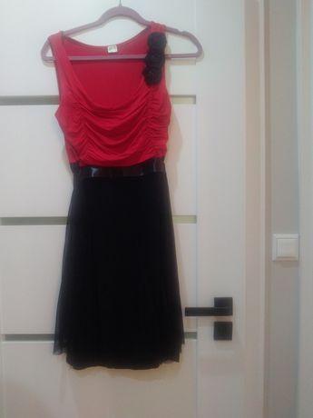 Czerwona czarna sukienka XL