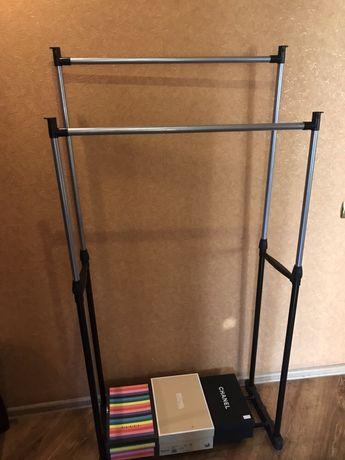 Двойная телескопическая вешалка стойка для одежды и обуви