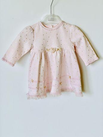*Little Me* Śliczna bawełniana mięciutka sukienka różowo-złota 6m USA