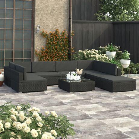 vidaXL 8 pcs conjunto lounge de jardim c/ almofadões vime PE preto 47259