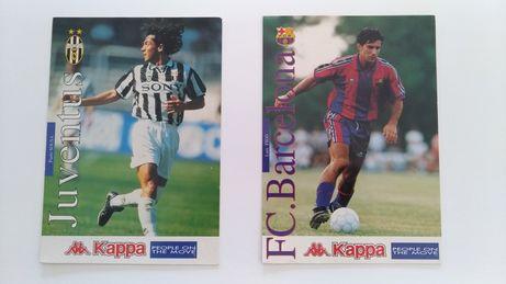 Figo e Paulo Sousa (Barcelona e Juventus) - Postais 17x12