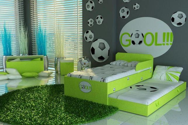 Łóżko tapicerowane miękką tkaniną,łóżko piętrowe niskie,wysuwane
