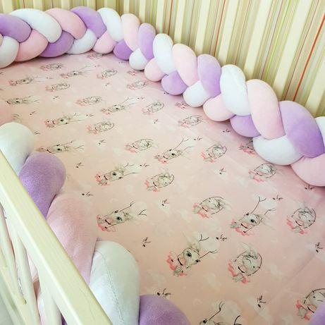 Бортик коса косичка защита в кроватку простынь на резинке плед минки