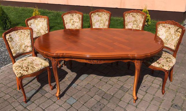 Włoski ekskluzywny rozkładany stół z 6 krzesłami