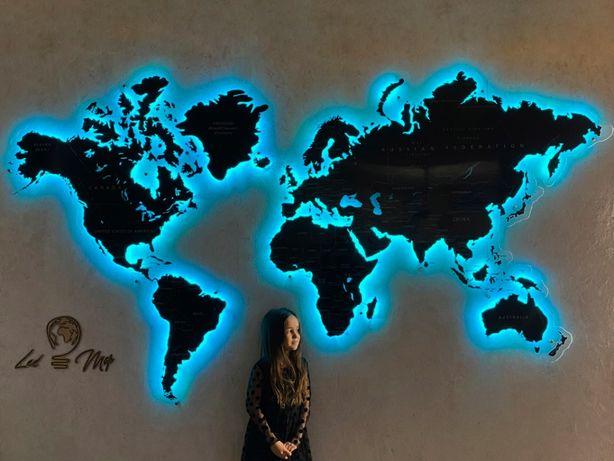 Карта Мира на стену из дерева с LED подсветкой, для офиса и дома