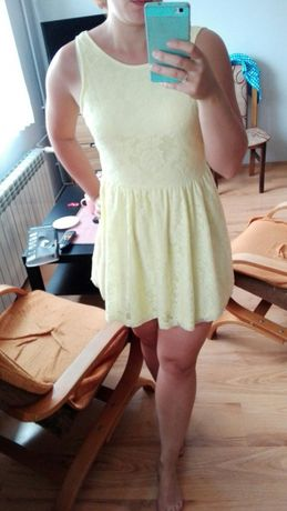 Sukienka s żółta koronkowa 36 koronka lato