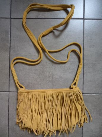 RESERVED torebka listonoszka skóra naturalna frędzle boho