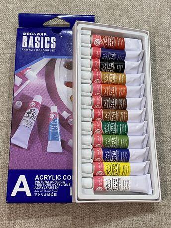 Акриловые краски для рисования на ногтях 12 шт + 12 шт