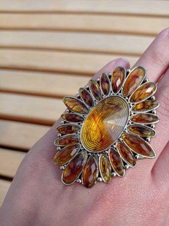Янтарное кольцо янтарь перстень колечко цветок
