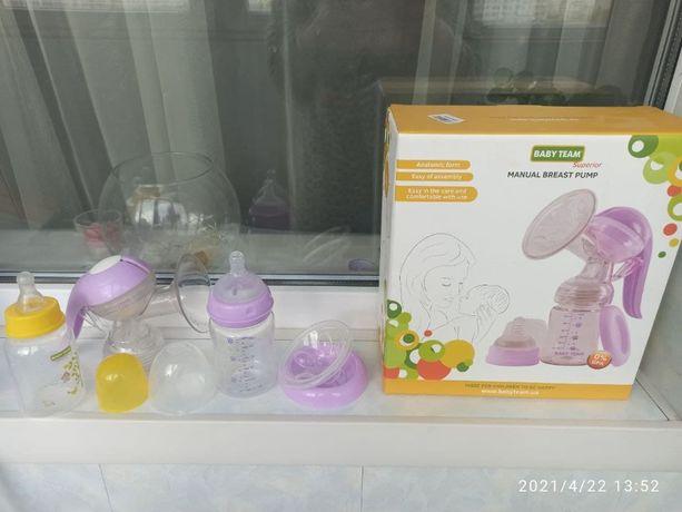 Молокоотсос ручной Baby team+бутылочка