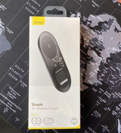 Nowa ladowarka bezprzewodowa baseus simple 2in1 2w1 wireless charger
