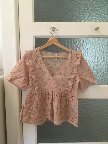 blusa bordado inglês rosa