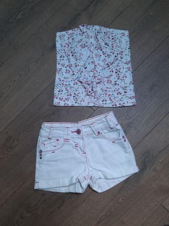 Spodenki Jeansowe Białe + Top Kwiatki 122 cm