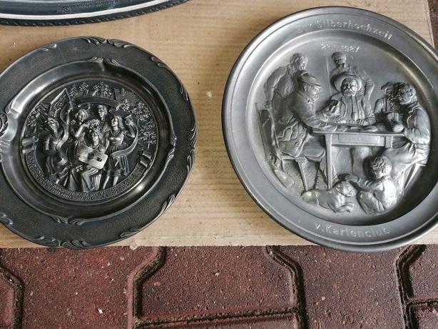 Rzeźba  patera zinn ładna cynowy talerz  wyjątkowa ozdoba  patera