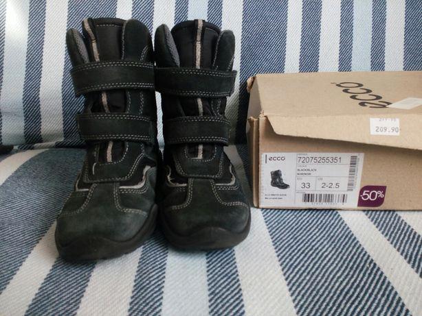Buty zimowe, kozaki czarne, GORE-TEX, ecco 33(21cm)