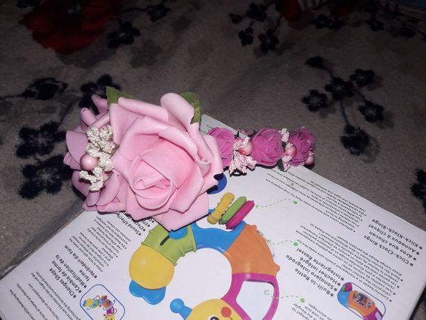 Ободок розовые розочки