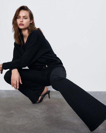 Расклешенные джинсы Zara в чёрном цвете