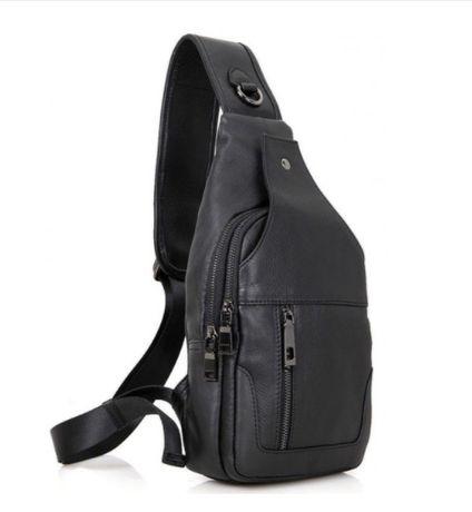Мужская кожаная сумка-слинг Vintage. Лучшая цена!