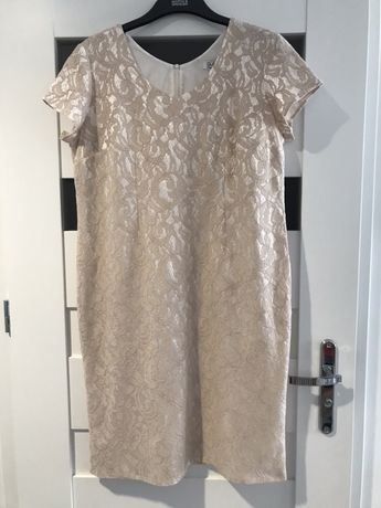 Piekna sukienka 48 korobkowa, beż, wesele, chrzciny, komunia