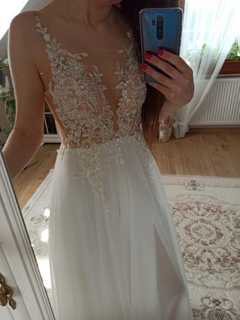 NOWA suknia ślubna z rozporkiem ivory ecru rozmiar 38