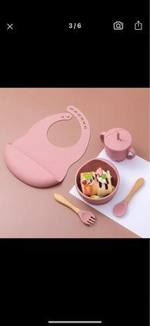 Силиконовая посуда слюнявчик тарелочка поилка