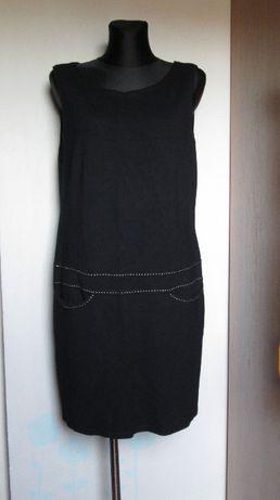 Czarna sukienka/tunika białe przeszycia r. 50