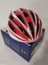 Kask rowerowy FORCE TERY L - XL 58 - 61 cm biało-czerwono-czarny