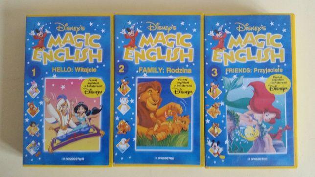 Kaseta VHS Disnejs Magic English 3 części