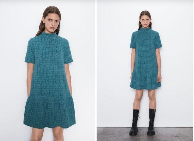 Платье Zara, L с воротником, гольф, короткими рукавами, расклешенное п