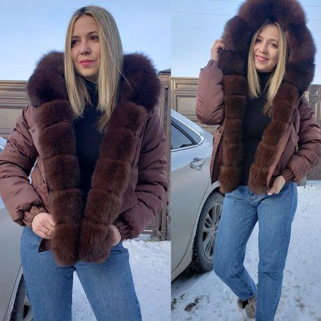 Бобмер с финским песцом , меховой бомбер , курточка с мехом песец