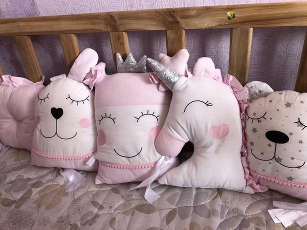Бортики на кроватку,бортики на ліжечко,на колиску,подушки на кроватку