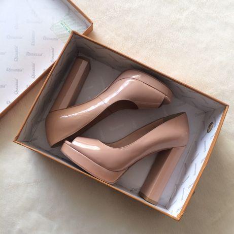 Женские лаковые кожаные туфли с открытым носком, 36 размер